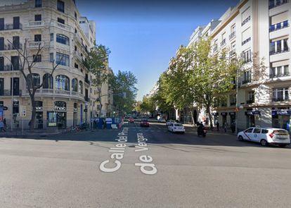 El cruce de Príncipe de Vergara con calle Goya en abril de 2019. |