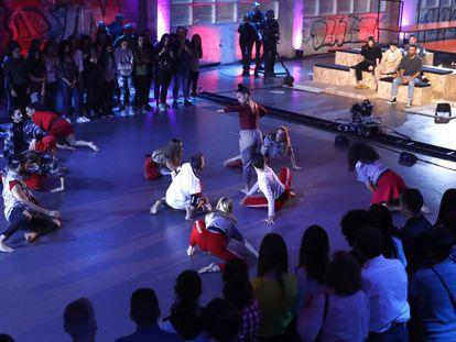 Fama, ¡a bailar! durante el rodaje.