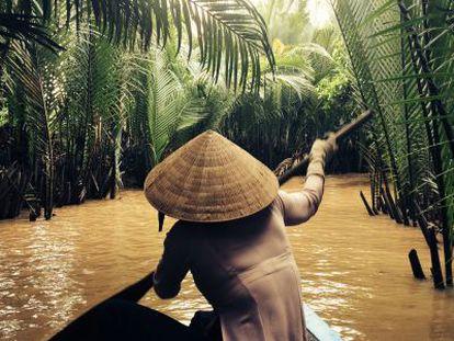 Canal del delta del Mekong en julio.