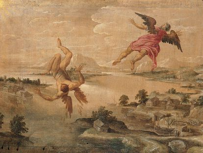 Una pintura de autor anónimo retrata a Ícaro y su padre, Dédalo.