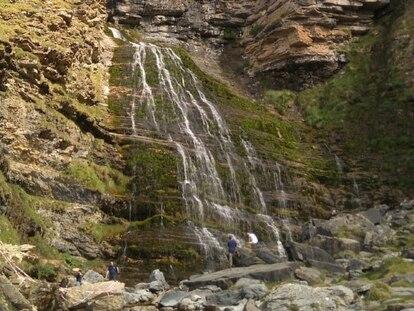 La cascada Cola de Caballo, casi sin agua a mediados de septiembre 2020.