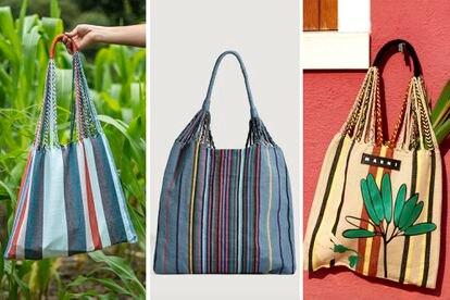 Desde la izquierda: bolsa hamaca original elaborada por la artesana Francisca Pérez, la vendida en el sitio web de la tienda Oysho y, por último, la bolsa vendida por la empresa Marni.