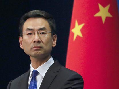 El portavoz del Ministerio de Asuntos Exteriores chino, Geng Shuang, en la rueda de prensa de este miércoles, en Pekín.