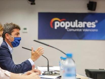 El presidente del PP valenciano, Carlos Mazón, durante la presentación de la propuesta fiscal del partido.