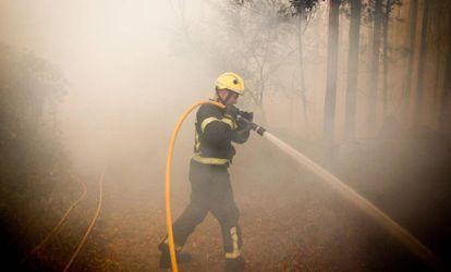Un bombero trabaja este domingo en el incendio de Pazos de Bordén (Pontevedra).