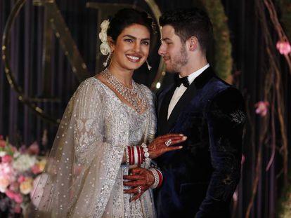 Priyanka Chopra y Nick Jonas en su boda en Nueva Delhi, India,el jueves 4 de diciembre de 2018.