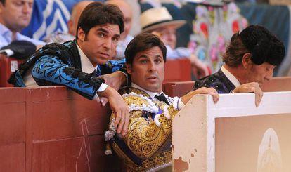 Los toreros Francisco y Cayetano Rivera Ordóñez durante una corrida de en la feria taurina de Pontevedra.