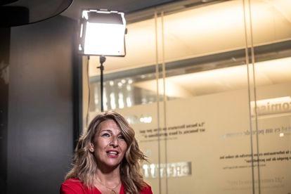 Yolanda Díaz, durante la entrevista el viernes en EL PAÍS.