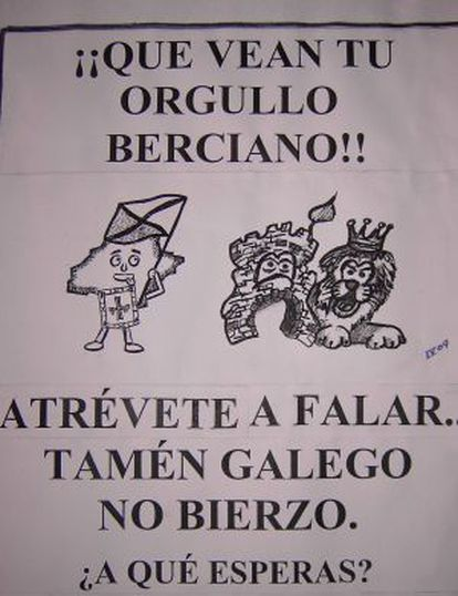 Cartel de promoción del uso del gallego en El Bierzo.