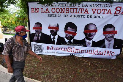 Cartel publicitario de la campaña en favor de la consulta, en Campeche