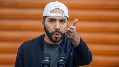 Nayib Bukele, presidente de El Salvador, durante una comparecencia el pasado febrero.