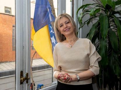 Danka Savic, la embajadora de Bosnia y Herzegovina en España, en la sede de su legación en Madrid.
