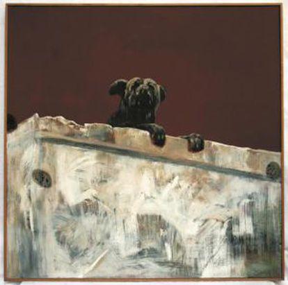 """'Perro de la revolución', de Enrique Estrada.  Enrique Estrada, """"Perro de la revolución"""", óleo s/tela, 119.7 x 120 cms., 1977"""