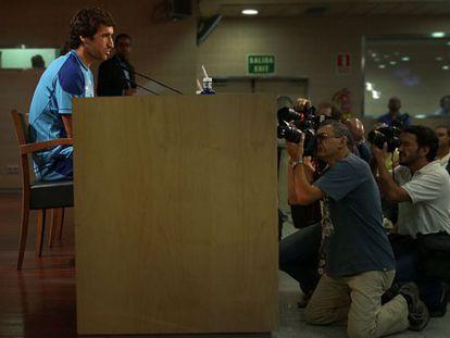 Raúl, durante la rueda de prensa en el Bernabéu.
