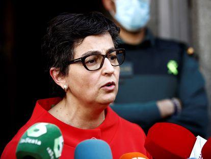 La ministra de Asuntos Exteriores, Arancha González Laya, el pasado martes ante la sede de su departamento.