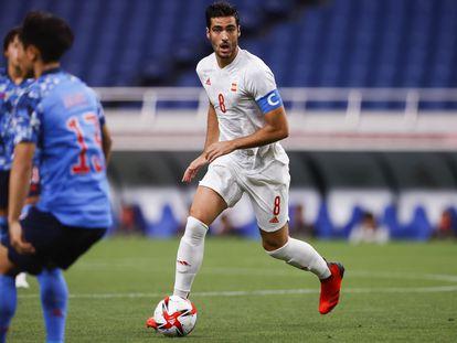 Mikel Merino, durante la semifinal contra Japón, el pasado martes en el estadio de Saitama.
