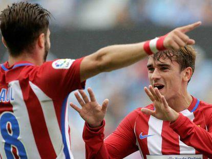 Foto: Griezmann y Saúl celebran un gol. / Vídeo: Rueda de prensa de Diego Simenone.