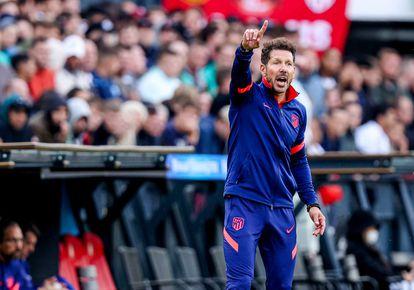 Simeone, durante el último amistoso ante el Feyenoord.
