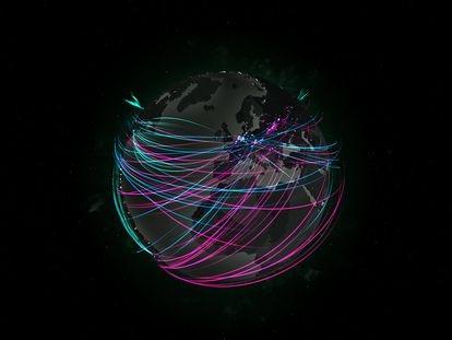 Imagen a tiempo real de ataques cibernéticos durante el miércoles 21 de julio a las cuatro de la tarde.