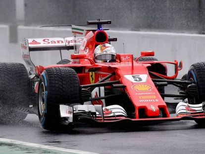 El Ferrari de Vettel, en Monza.