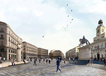 La Puerta del Sol, en Madrid, es una plaza sin zonas verdes, ni bancos