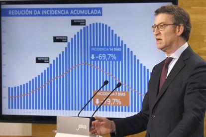 El presidente de la Xunta, Alberto Núñez Feijóo, durante una rueda de prensa el lunes.