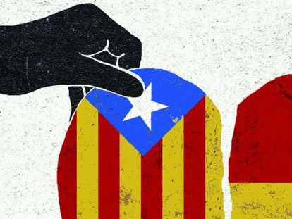 Ilustración sobre la independencia de Cataluña.