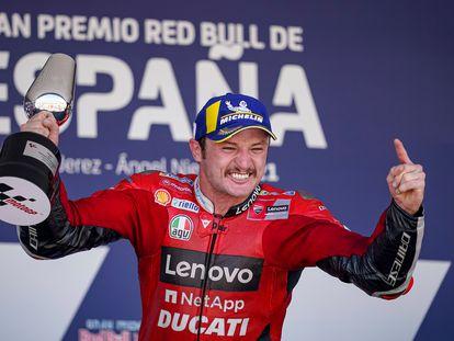 El piloto australiano de MotoGP Jack Miller en el podio del GP de España, este domingo.