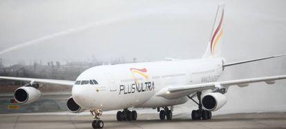 Un avión de la aerolínea española Plus Ultra.