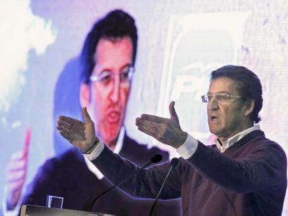 Alberto Núñez Feijóo en un mitin del PPdeG.