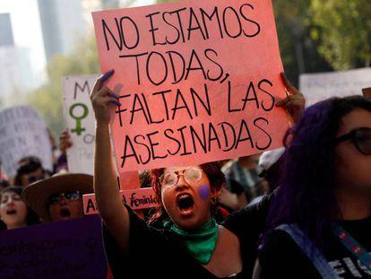 Marcha contra los feminicidios en Ciudad de México.