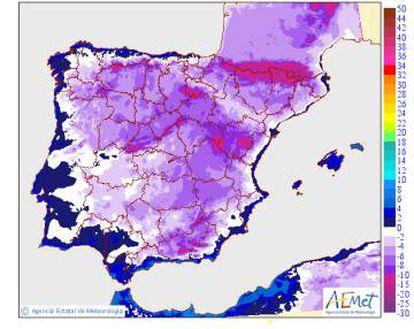 Mapas de temperaturas extremas previstas y de sus variaciones respecto al día anterior.