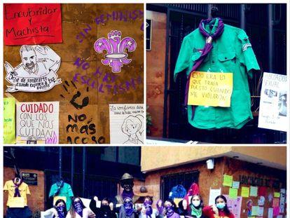 Fotografías de la protesta llevada acabo por el grupo de mujeres frente a la Sede Scouts de México/ TWITTER