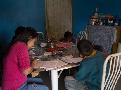 Un estudiante toma clases por televisión en la Ciudad de México.