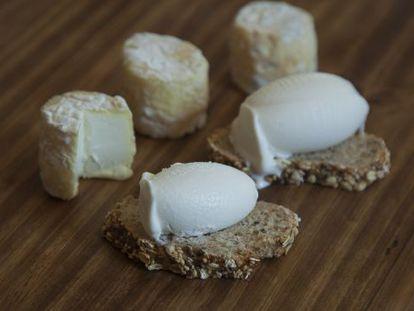 Helado artesano de Fernando Sáenz elaborado con queso de leche de oveja de Granja Cantagrullas y pan de cereales de Triticum.