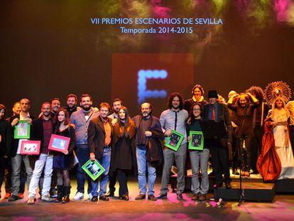 Los premiados en la séptima edición de los Premios Escenarios de Sevilla.