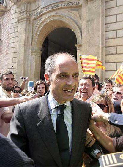 Francisco Camps, tras declarar ayer como imputado en el Tribunal Superior de Valencia.