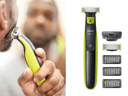 La afeitadora Philips 'OneBlade' se comercializa con tres peines-guía de distintos tamaños y una cuchilla de recambio.