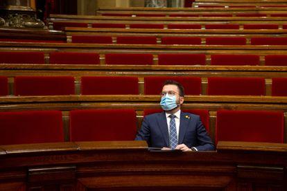 El dirigente de ERC, Pere Aragonès, en el Parlament de Cataluña, esta semana.
