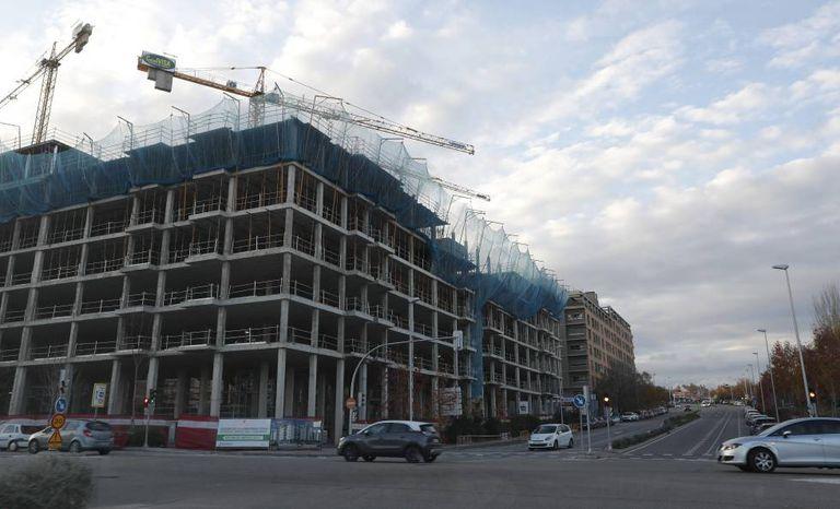 Un bloque de viviendas en construcción en Madrid.