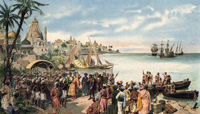 Llegada de Vasco de Gama a Calicut, en una imagen de época.
