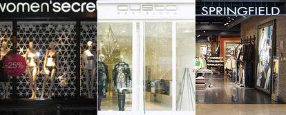 Fachadas de tiendas de Women'secret, Custo y Springfield en la capital francesa.