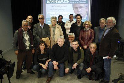 Los convocantes a la manifestación del domingo en apoyo de Baltasar Garzón.