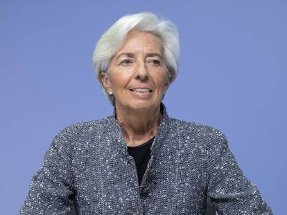 Christine Lagarde, presidenta del BCE, en rueda de prensa en marzo de 2020.