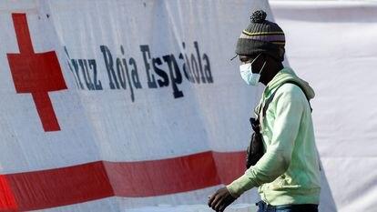 Un migrante camina hacia una carpa de la Cruz Roja después de desembarcar de un barco de la Guardia Costera española, en el puerto de Arguineguín, el pasado miércoles.