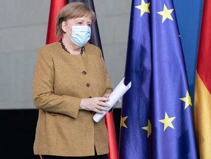 La canciller de Alemania, Angela Merkel, este martes a su llegada a la reunión del Gobierno alemán.