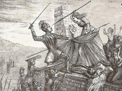 Grabado 'Heroísmo de María Pita' (1589), de F. Ferrer y Ros.