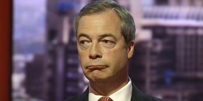 El líder del UKIP, Nigel Farage, el pasado 5 de mayo en un plató de la BBC.