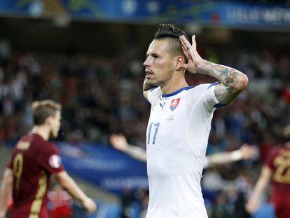 Hamsik celebra su gol ante Rusia.