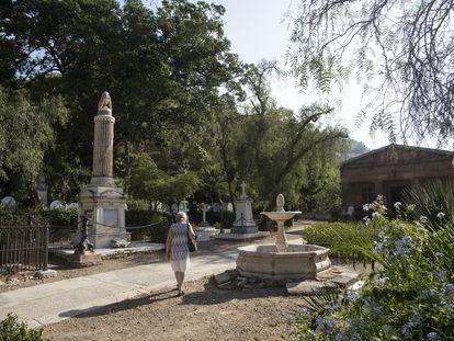 Liz Parry, voluntaria en el Cementerio Inglés de Málaga, caminando por las instalaciones.